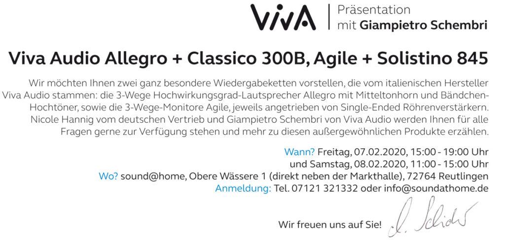 Einladung Viva Audio Veranstaltung 2020